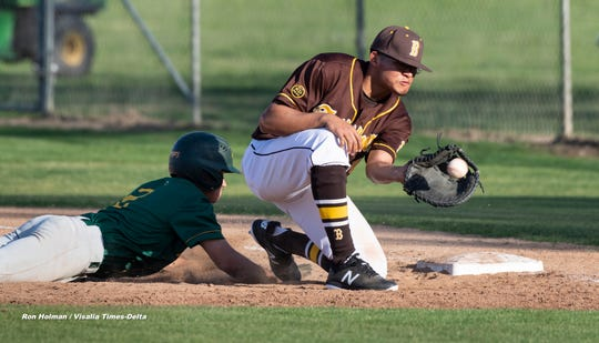Kingsburg's Jacob Gregory beats a throw to Golden West's Jonathan Ortega at first in non-league high school baseball game on Wednesday, March 4, 2020.