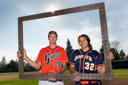 COS pitchers Ben Pedersen (baseball), left, and Olivia Aguigam (softball) both pitched a perfect game this season in their respective sport.