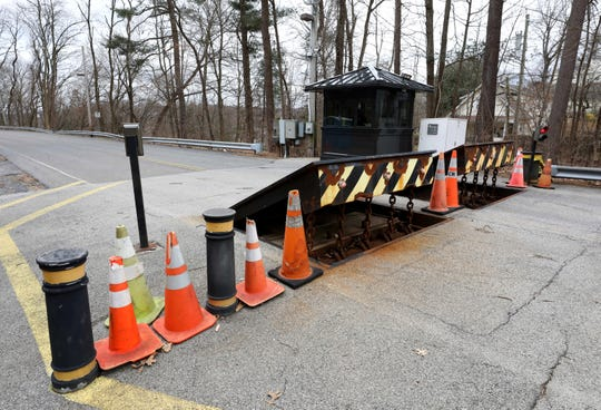 The bollards block the road at Westlake Drive in Valhalla, that leads to the top of the Kensico Dam, March 6, 2020.