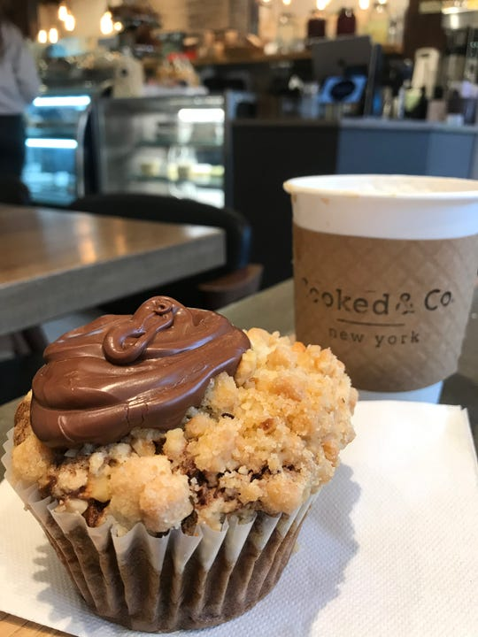 Cooked & Co. in Scarsdale is known for its nutella muffins, which come in large and small sizes.