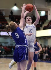 Hendrick Hudson's Grace Moretti shoots over Pearl River's Maggie McGrane during their Class A semifinal at the Westchester County Center Mar. 5, 2020. Hen Hud won 50-45.