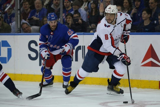 Washington's Alex Ovechkin scored 48 goals before the NHL suspended play in March.