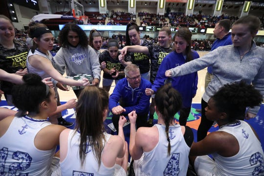 Hendrick Hudson head coach Ken Sherman talks to his players during a late time out during their Class A semifinal with Pearl River at the Westchester County Center Mar. 5, 2020. Hen Hud won 50-45.