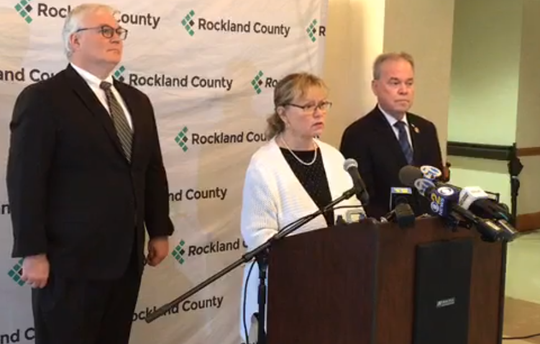 Rockland County Health Commissioner Dr. Patricia Schnabel Ruppert talks about the first two cases of coronavirus in the county on March 6 at the county health complex in Pomona. Rockland County Executive Ed Day is right and county attorney Thomas Humach is at left.