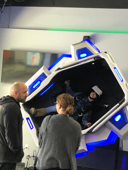 One of the six motion simulators available at Imagine VR Studios in Yorktown Heights.