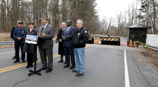 Westchester County Executive George Latimer urges the re-opening of the Kensico Dam Road, as they stand in front of the bollards at Westlake Drive in Valhalla, March 6, 2020.