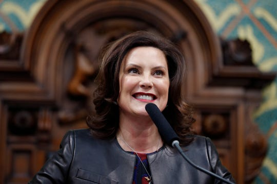 Michigan Gov. Gretchen Whitmer delivers her State of the State address to a joint session of the House and Senate, Wednesday, Jan. 29, 2020, at the Michigan State Capitol in Lansing, Mich. (AP Photo/Al Goldis)