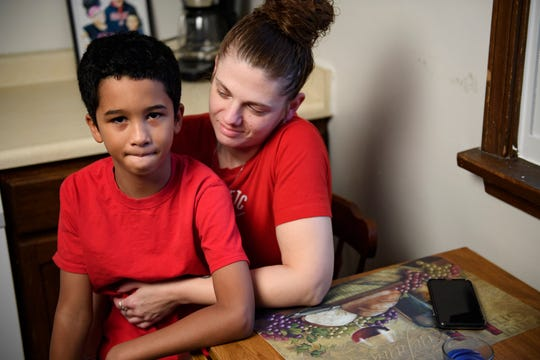 Johannah Lancaster and her son, Gregory McCrary, 9, in their apartment on Feb. 8, 2020, in Youngstown, Ohio.