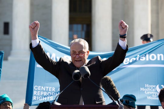 Senate Democratic Leader Chuck Schumer addresses an abortion rights rally outside the Supreme Court on March 4, 2020.