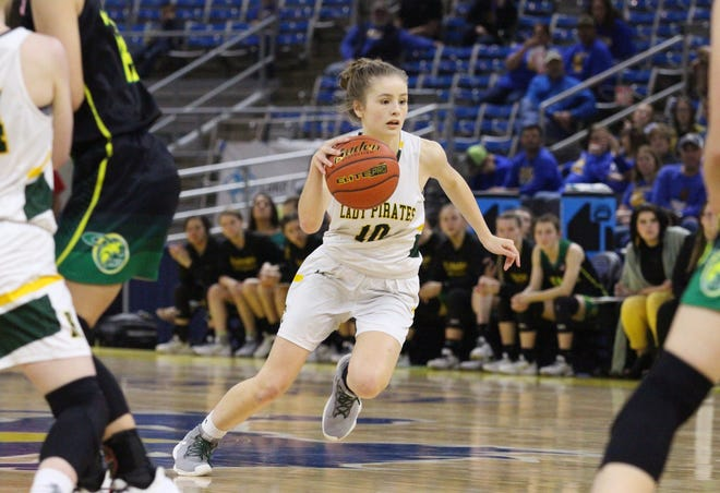 Hicks point guard Chloe Wilbanks (10) goes toward the basket against Plainview. Wilbanks is the 2020 All-Cenla girls basketball MVP.