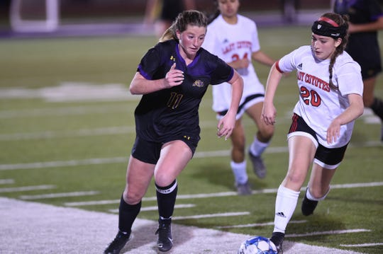 Wylie's Shaelyn Ward (11) turns past a Wichita Falls High defender during Friday's game at Bulldog Stadium. The Lady Bulldogs fell 1-0 on a second-half goal.