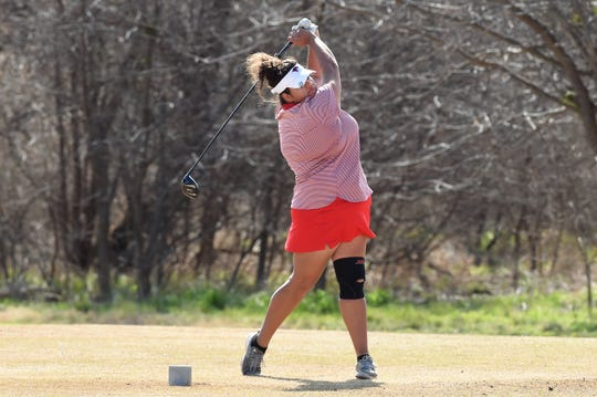 Cooper's Sarah Aitchison tees off during the second round of the AHS Lady Eagle Invitational at the Diamondback Golf Club in Abilene on Saturday. Aitchison shot a second-round 69 to finish in second place with a 144.