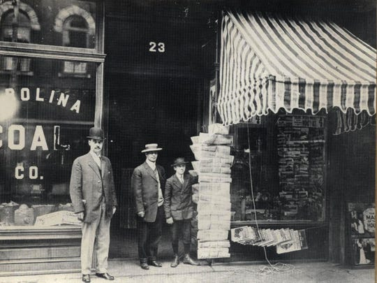 The Carolina Coal and Ice Co., founded in 1890, was located at 23 Patton Avenue. Pictured in this 1910 photo are Harmon A. Miller, co-owner of the company, H.M. Nahikian and Russell C. Davis.