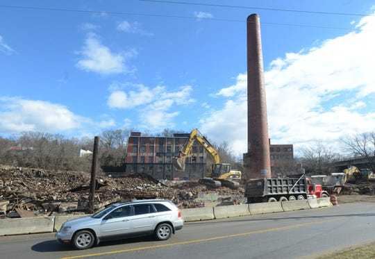 Demolition continues on the 1906 icehouse building in the River Arts District in February 2013.