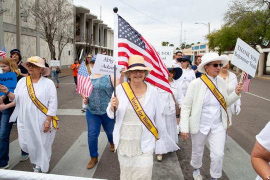 The Votes for Women March commemorating the 100-year anniversary of ratification of the 19th Amendment starting at the Nueces County Courthouse and on Saturday, March 7, 2020.