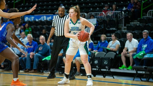Texas A&M-Corpus Christi's Emma Coleman-O'Bryan looks to pass against Houston Baptist at the American Bank Center on Saturday, March 7, 2020. The Islanders won to secure the program's first Southland Conference championship.