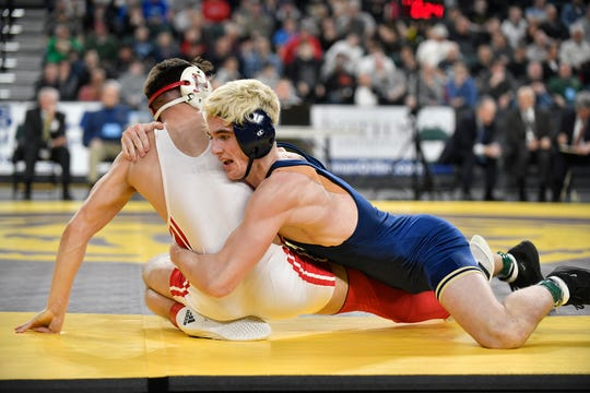 Andrew Clark of Collingswood, right, defeats Gabe Onorato of Paulsboro in the 145 lb. semifinal bout during the NJSIAA state individual wrestling tournament at Boardwalk Hall in Atlantic City on Friday, March 6, 2020.