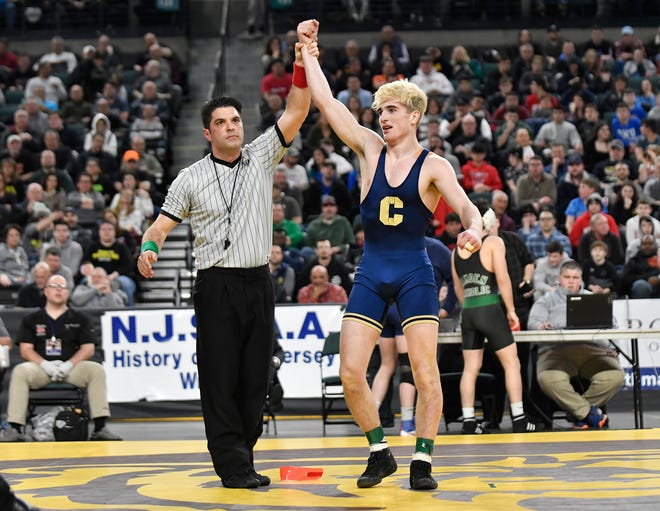 Andrew Clark of Collingswood defeats Gabe Onorato of Paulsboro in the 145 lb. semifinal bout during the NJSIAA state individual wrestling tournament at Boardwalk Hall in Atlantic City on Friday, March 6, 2020.
