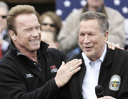 Arnold Schwarzenegger, left, introduced then-Gov. John Kasich at the Franklin Park Conservatory in Columbus in March 2016 when Kasich was running for president.