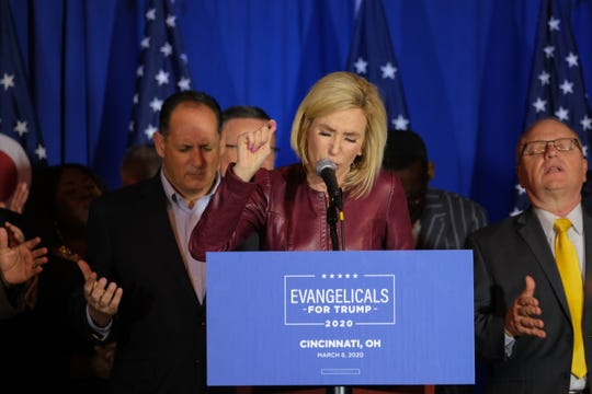 Paula White, special adviser to the Faith and Opportunity Initiative, speaks at the Evangelicals for Trump event at Solid Rock Church-South in Cincinnati on Friday, March 6, 2020.