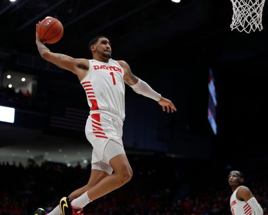Feb. 28, 2020: Dayton Flyers forward Obi Toppin (1) goes up to dunk against the Davidson Wildcats during the second half at University of Dayton Arena.