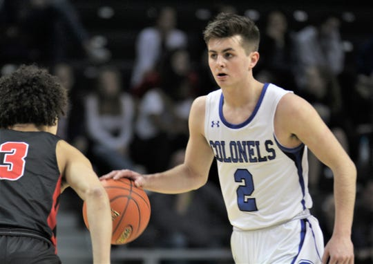 CovCath senior Grant Disken looks upcourt as Covington Cathoilc defeated Newport 63-36 in the quarterfinals of the KHSAA Ninth Region boys basketball tournament March 7, 2020 at BB&T Arena, Highland Heights, Ky.
