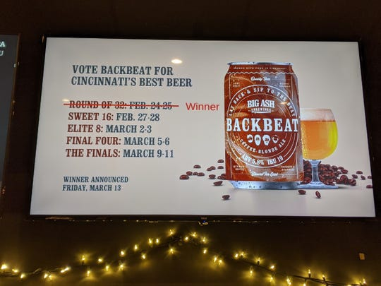 Video board promoting the Beer Bracket at Big Ash Brewing.