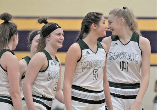 Bishop Brossart players get ready for the opening tip as Bishop Brossart lost 47-44 to George Rogers Clark in the semifinals of the KHSAA 10th Region girls basketball tournament March 6, 2020, at Campbell County Middle School, Alexandria, Ky.