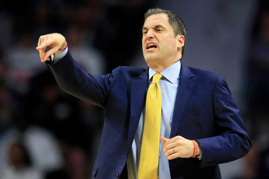 Iowa State head coach Steve Prohm directs his team during the first half of an NCAA college basketball game against Kansas State in Manhattan, Kan., Saturday, March 7, 2020. (AP Photo/Orlin Wagner)