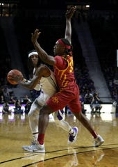 Mar 7, 2020; Manhattan, Kansas, USA; Kansas State Wildcats guard Cartier Diarra (2) is guarded by Iowa State Cyclones forward Solomon Young (33) during the first half of a game at Bramlage Coliseum. Mandatory Credit: Scott Sewell-USA TODAY Sports