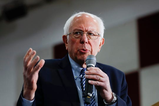 Democratic presidential candidate Sen. Bernie Sanders, I-Vt., speaks during a campaign rally in Dearborn, Saturday, March 7, 2020.