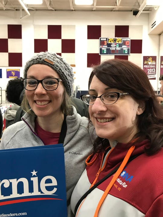 Christen Lesko-Brown, 34, of Livonia, and Melissa Brown-Knox, 36, of Lincoln Park, attend a Bernie Sanders rally in Dearborn, on March 7, 2020.
