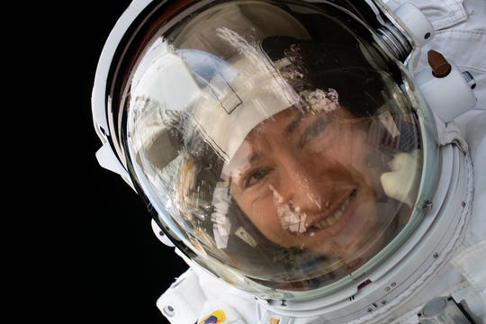 NASA astronaut Christina Koch is pictured during a spacewalk on January 15, 2020.