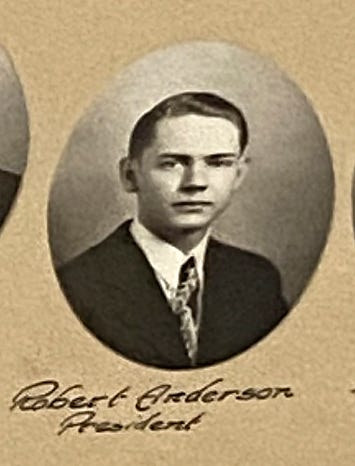 The 1946 L'Anse High School class composite photo, including class president Robert Anderson.