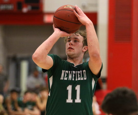 Newfield's Josh Wood takes a foul shot during a 63-60 win over Watkins Glen in the Section 4 Class C boys basketball championship game March 7, 2020 at SUNY Cortland.