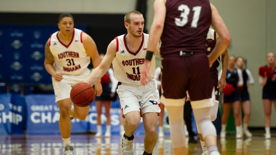 University of Southern Indiana's Joe Laravie controls the ball during Friday night's GLVC quarterfinal matchup against Bellarmine.