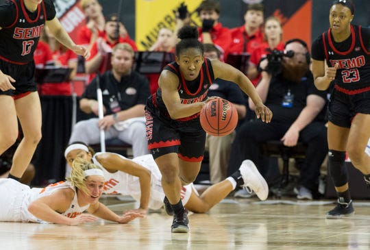Southeast Missouri's Carrie Shephard (2) picks up the ball as the Redhawks play the UT Martin Skyhawks during the Ohio Valley Conference Championship game at Ford Center Saturday afternoon, March 7, 2020.