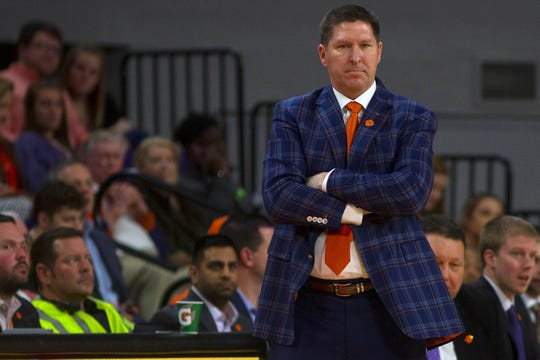 Mar 6, 2020; Clemson, South Carolina, USA; Clemson Tigers head coach Brad Brownell looks on during the first half against the Georgia Tech Yellow Jackets at Littlejohn Coliseum.