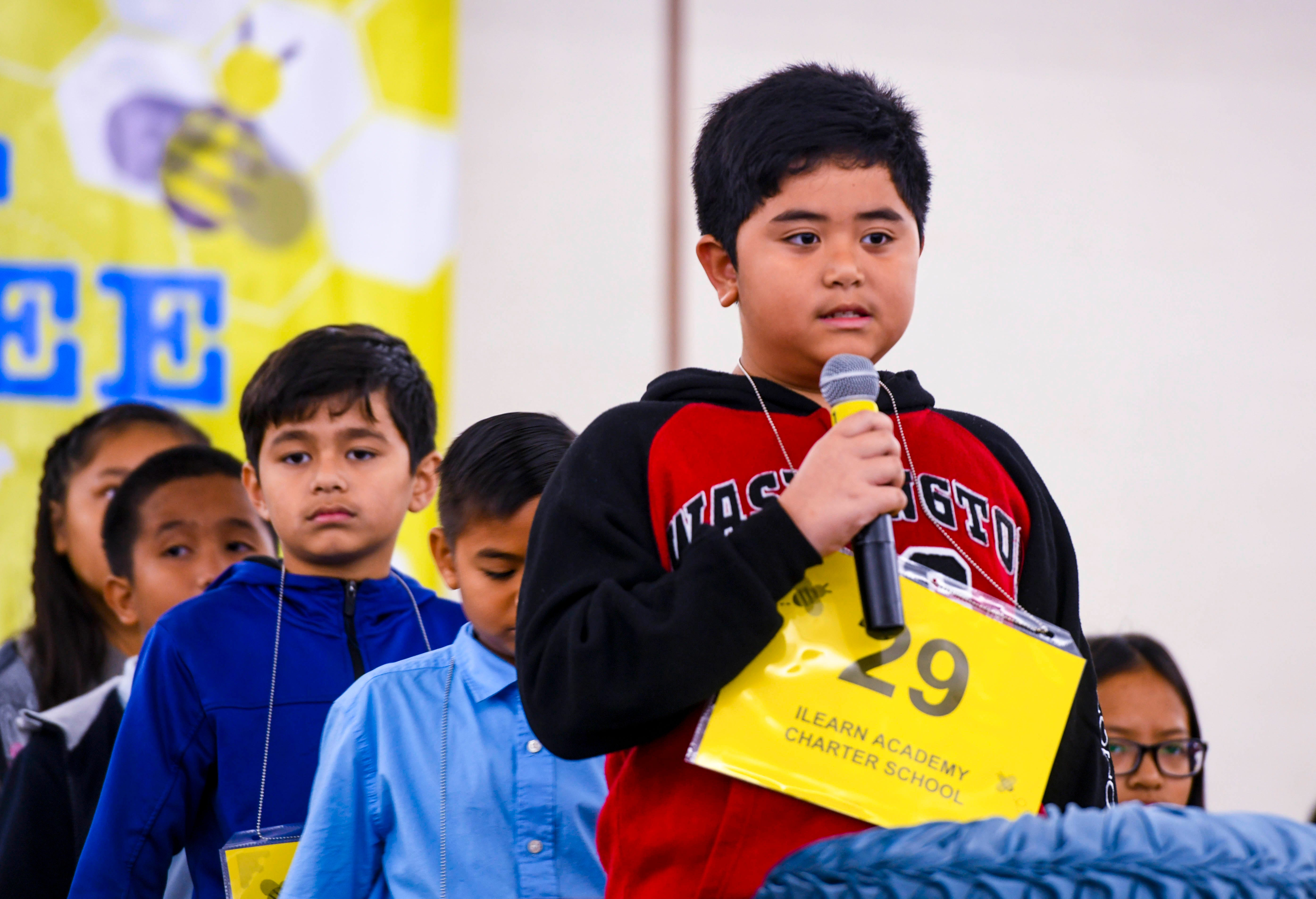 Third-grader Lance Sanchez represents iLearn Academy Charter School during his participation in the 48th Annual Scripps Regional Spelling Bee at the Hotel Nikko Guam in Tumon on Saturday, March 7, 2020.