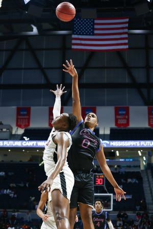 Callaway High School's Johnathan Crumley (0) scored 17 points and grabbed 13 rebounds in the MHSAA Class 5A basketball championship on Friday, March 6, 2020, at The Pavilion at Ole Miss.