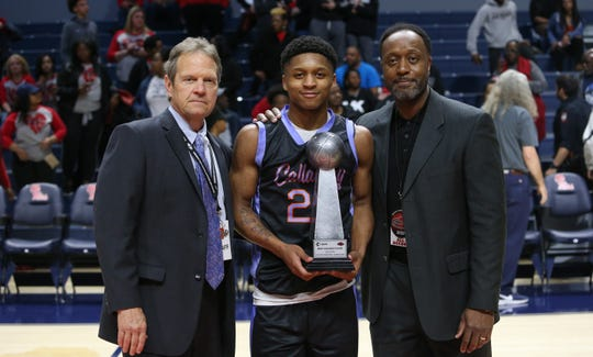 Callaway guard Daeshun Ruffin scored 33 points and was named MVP of the MHSAA Class 5A basketball championship game on Friday, March 6, 2020, at The Pavilion at Ole Miss.
