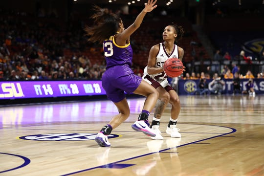 Mississippi State senior guard Jordan Danberry sets to shoot a jumper during the Bulldogs' victory over LSU in the quarterfinal round of the SEC Tournament.