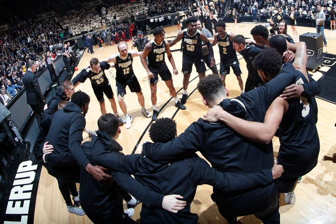 Mar 7, 2020; West Lafayette, Indiana, USA; Purdue Boilermakers huddle up before the game against the Rutgers Scarlet Knights at Mackey Arena. Mandatory Credit: Brian Spurlock-USA TODAY Sports