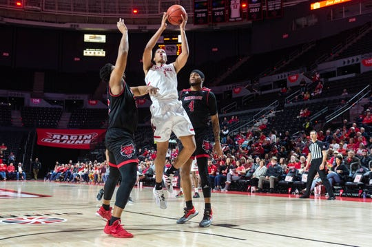 UL's Jalen Johnson, shown here in a Sun Belt Conference Tournament win over Arkansas State last month at the Cajundome, has been named LSWA state Newcomer of the Year.