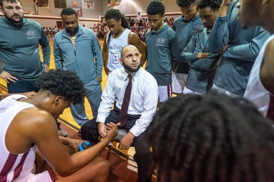 Head Coach Chad Pourciau as Breaux Bridge takes on Salmen High basketball.  Friday, March 6, 2020.