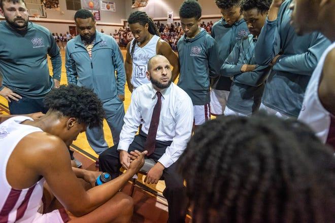 Head Coach Chad Pourciau as Breaux Bridge takes on Salmen High basketball.  Friday, March 6, 2020.