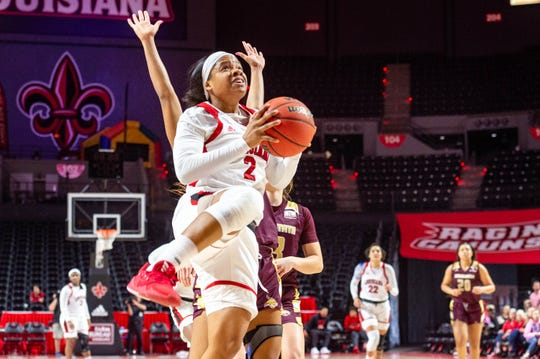 Brandi Williams, shown here in Saturday's win over Texas State, and the Ragin' Cajuns play host to Georgia Southern in a Sun Belt Tournament game Tuesday night.