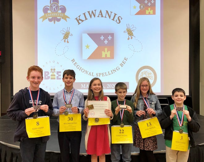 Winners of the 2020 Kiwanis Regional Spelling Bee are, from left, Noah Darby of St. Cecilia Catholic School; William Moses of Our Lady of Fatima Catholic School; Grand Champion Beatrice Long of John Paul the Great Academy; Fisher Webre of Sts. Leo-Seton Catholic School; Josie Breaux of Our Lady of Fatima; and Aidan Touchet of Leblanc Elementary. They competed at South Louisiana Community College in Lafayette Friday, March 6, 2020.