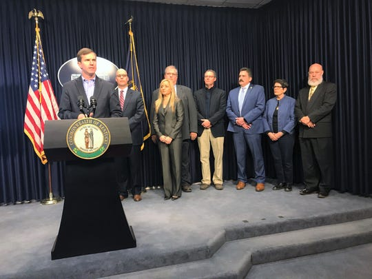Gov. Andy Beshear held a press conference to address Kentucky's first case of the coronavirus on March 7, 2020.