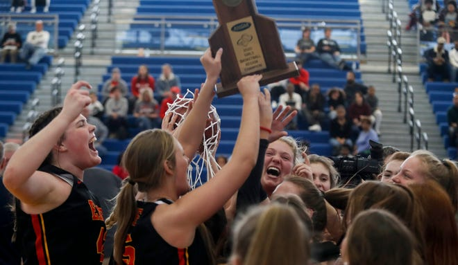 Bullitt East celebrates beating Butler on Mar. 7, 2020 and advancing to the state tournament.   Mar. 7, 2020.